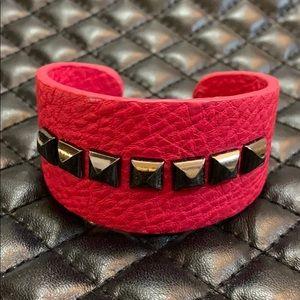 BCBG Edgy Pink Leather Studded Cuff Bracelet